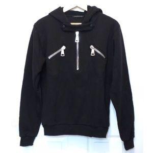 Christopher Kane Black Half Zipper Hoodie Sweater